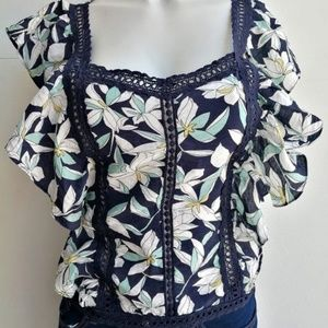 Printed blouse with frills on the sleeve